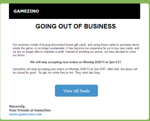 Going out of business -- GameZino