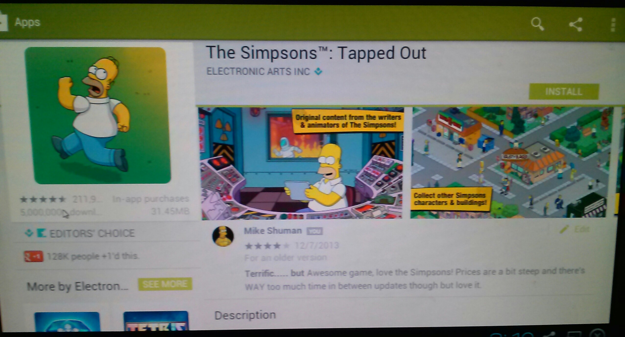 will open right to the search results. Select Tapped Out and Install