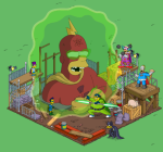 Tapped Out All heroes attacking the Radioactive Man Statue