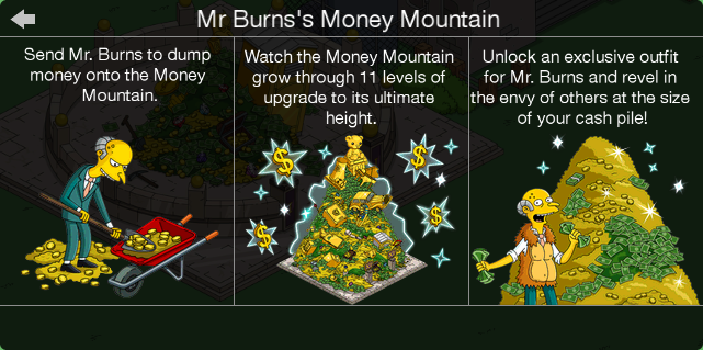 Tapped Out Money Mountain Guide