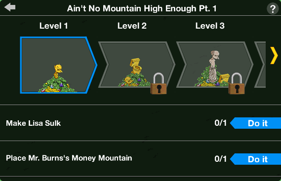 Tapped Out Money Mountain Level Up