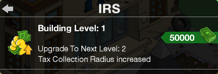 IRS Level Up Screen