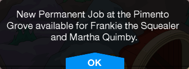 Tapped Out Pimento Grove Message