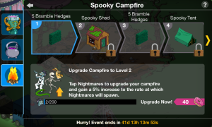 Spooky Campfire Level Up Screen