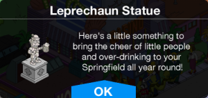TSTO Leprechaun Statue Message
